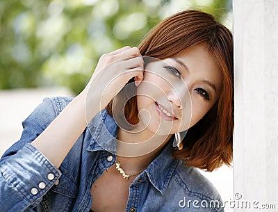 室外中国的女孩