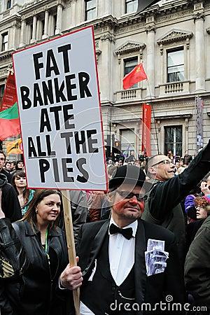 反剪切伦敦抗议者 编辑类库存照片