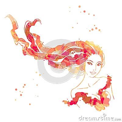 美丽的头发长的纵向妇女
