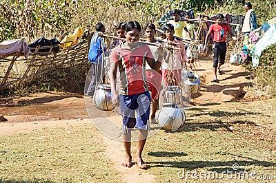 区印第安农村用品水 编辑类库存照片