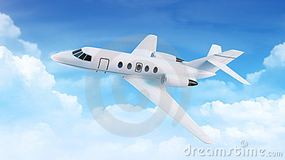 蓝色覆盖客机天空