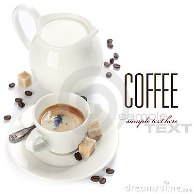 意大利浓咖啡和牛奶