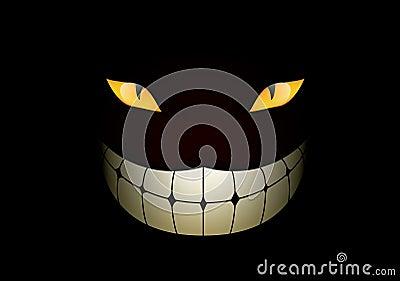 猫黑暗咧嘴