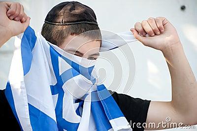 молодость поселенца флага израильская еврейская Редакционное Стоковое Фото