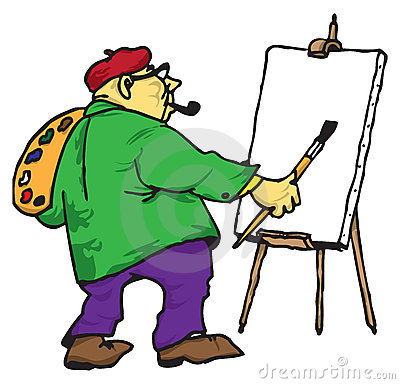 艺术家画架他的