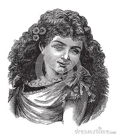 女花童头发她的葡萄酒妇女