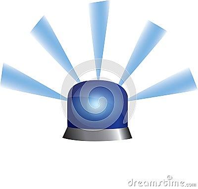蓝色紧急闪光灯警察