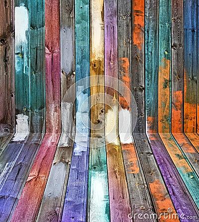 颜色镶板透视图木头
