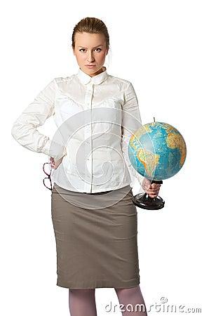 сердитый учитель глобуса