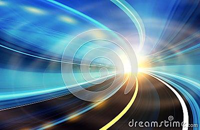 色高速合集_摘要弄脏了五颜六色的计算机生成的高速公路例证光行动路速度往都市