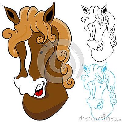 лошадь головки чертежа