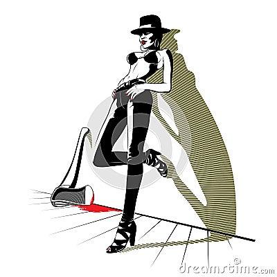 轴血液牛仔裤相当时髦的妇女