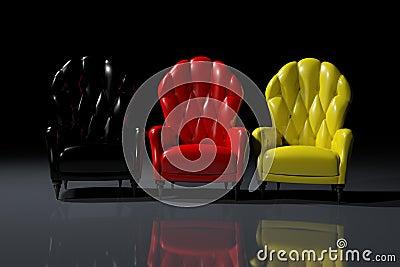 扶手椅子上色德国人