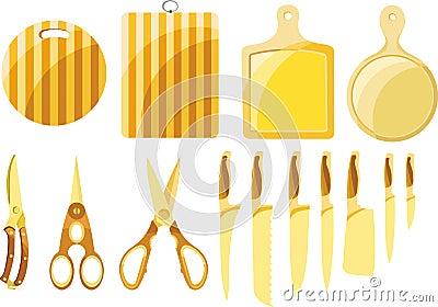 установленные ножи кухни
