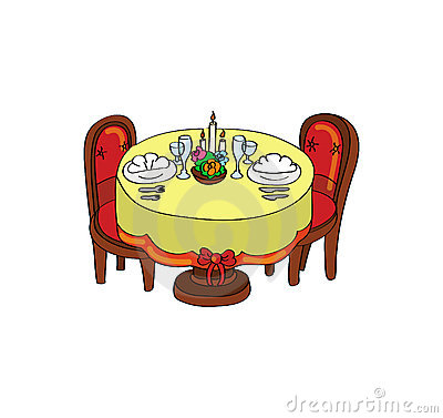таблица обеда романтичная