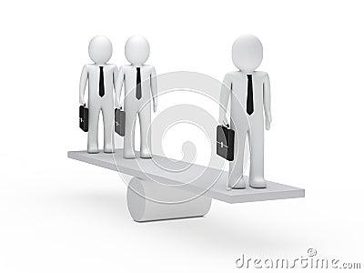 在跷跷板的生意人平衡