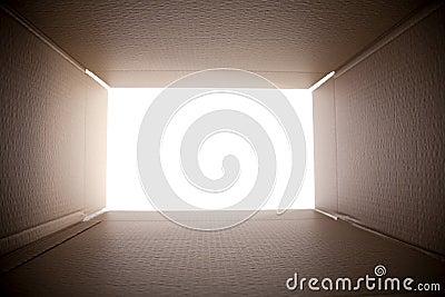 коробка смотря вне