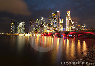 Город Сингапур Редакционное Изображение