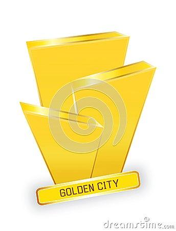 логос конструкции города золотистый