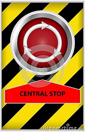 按钮中央终止