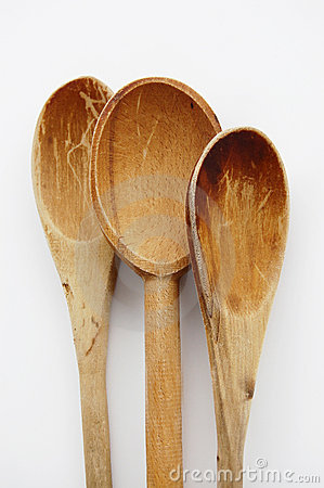 烹调木老的匙子