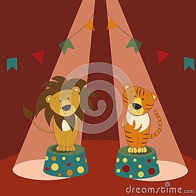 τίγρη βάθρων λιονταριών τσίρκων