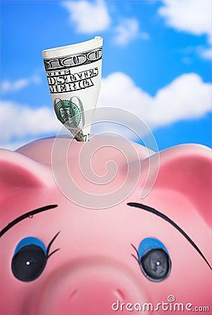 银行陶瓷贪心粉红色