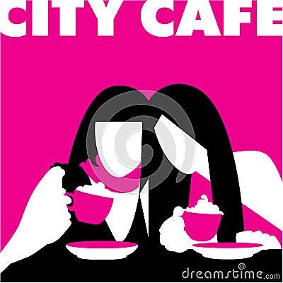抽象咖啡馆女孩