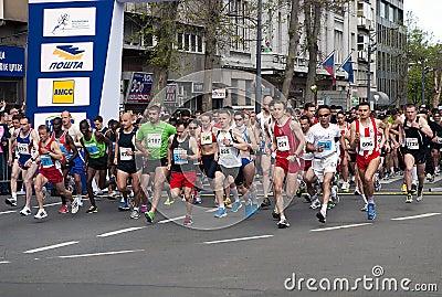 马拉松起始时间 图库摄影片