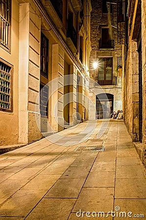 巴塞罗那哥特式运输路线每夜的四分之一西班牙