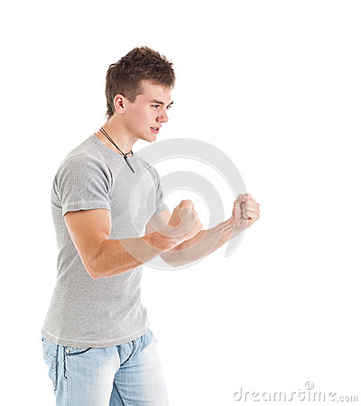 Человек с рукоятками вверх