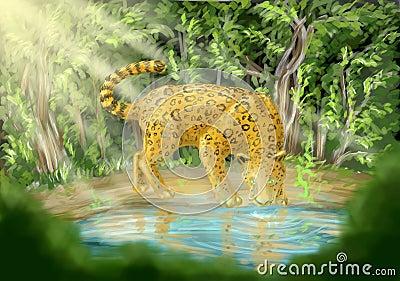 Леопард выпивая от бассеина