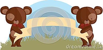 与一副空的横幅的玩具熊