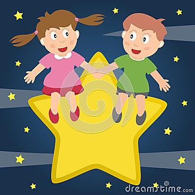 Малыши в влюбленности сидя на звезде