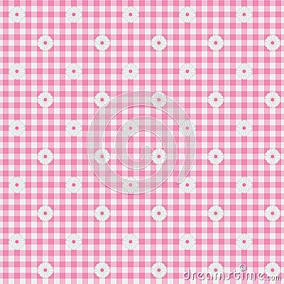 桃红色方格花布织品有花背景