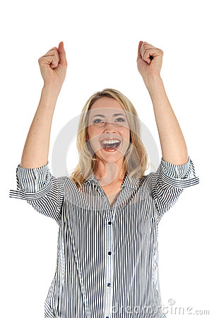 有被举的胳膊的快乐的妇女