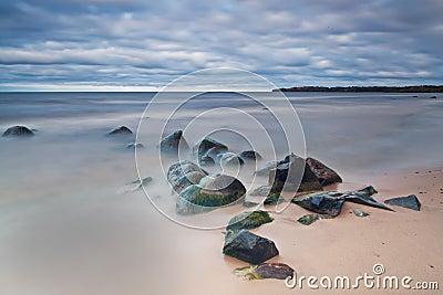 在湖海浪的湿石头