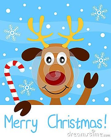 与驯鹿的圣诞卡