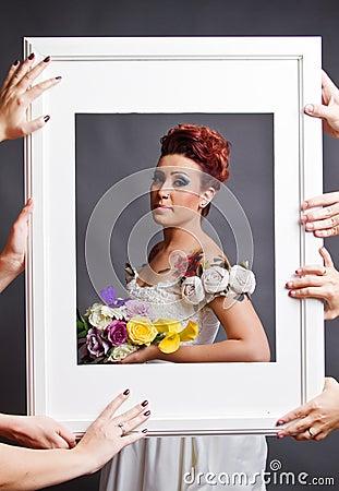 在框架的新娘配件