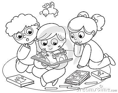 读一本弹出式书的三个孩子