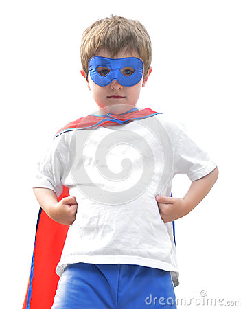白色的勇敢的特级英雄男孩