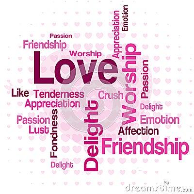 Облако слова влюбленности