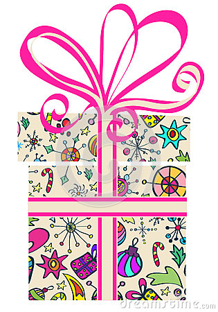 Коробка подарка с картиной праздника