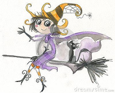 万圣节在帚柄的巫婆飞行