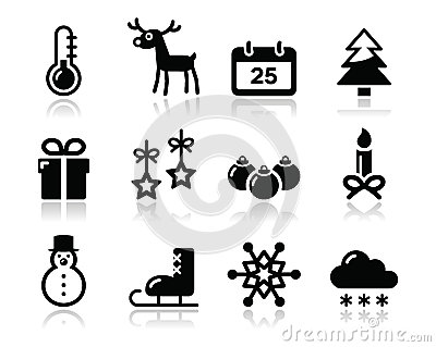 圣诞节冬天被设置的黑色图标