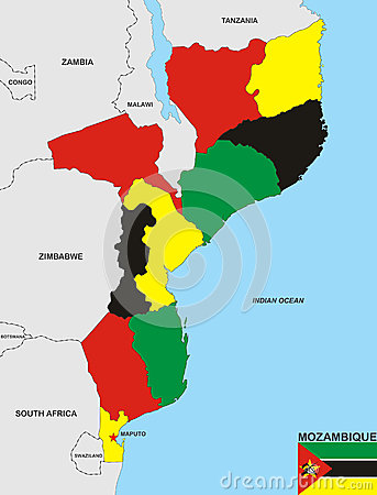 Карта Мозамбика