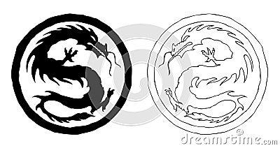 орнамент дракона фарфора