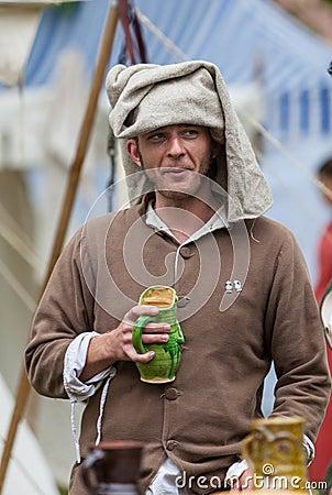 Μεσαιωνικός νεαρός άνδρας Εκδοτική Στοκ Εικόνα