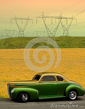 经典汽车和秋天领域