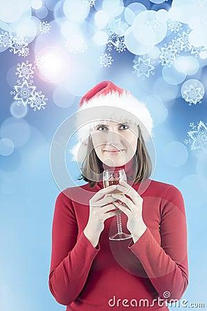 Женщина празднуя Новый Год